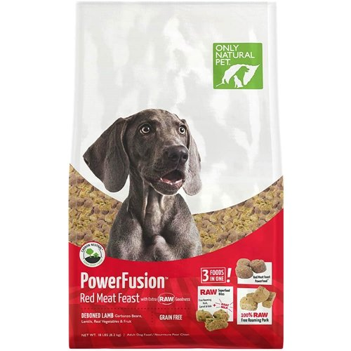 Only Natural Pet Powerfusion Raw Infused Grain Free Dog Food, High Protein All-Natural Whole, Fresh Ingredients & 100% Raw Meat Bites, (Red Meat Feast 18 lb)