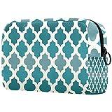 Bolsa de maquillaje grande con cremallera, bolsa de cosméticos de viaje, bolsa de cosméticos para mujeres y niñas, patrón marroquí, verde esmeralda