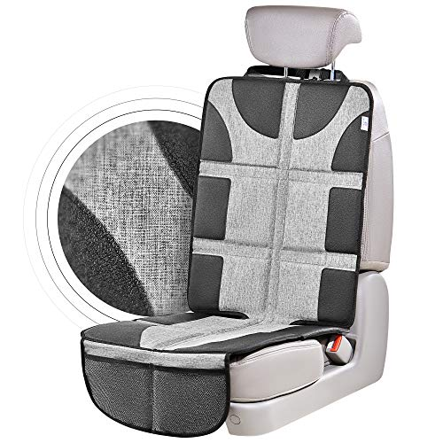 Helteko Car Seat Protector with Thickest Padding - Large Cover for Baby Carseat Safety - Waterproof & Stain Resistant Protective 300D Fabric - Child Auto Seat Protectors & 2 Pockets for Handy Storage