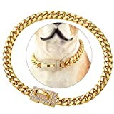 ToBeTrendy Gold Dog Chain Collar with Design Secure Buckle Bling CZ Diamonds 18K Miami Cuban Link Chain 10MM Heavy Duty Chew Proof Walking Metal Chain Collar Necklace(for Small Dog Neck 10