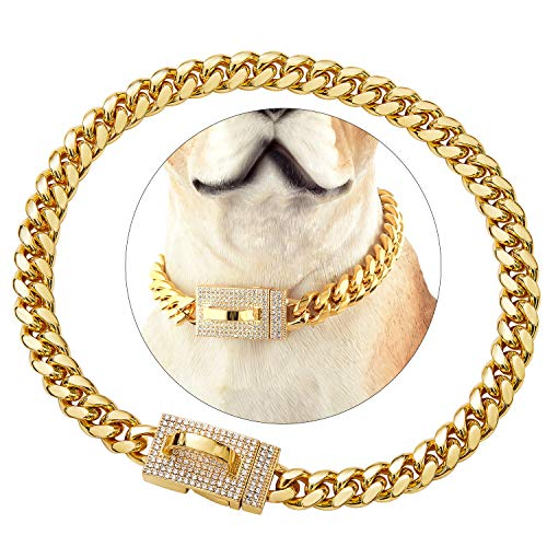 Gold Dog Chain Collar with Design Secure Buckle Bling CZ Diamonds 18K Miami Cuban Link Chain 10MM Heavy Duty Chew Proof Walking Metal Chain Collar Necklace(for Small Dog Necks 10')