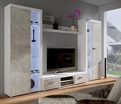 Küchen-Preisbombe TOP Wohnwand Rumba XL Anbauwand Wohnkombi Wohnzimmer Beton Optik Weiss matt