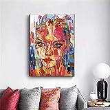 SADHAF Color abstracto Chica Cara Impresión de lienzo Pintura Pintura de lienzo de pared Sala de estar Decoración del hogar A2 40x50cm