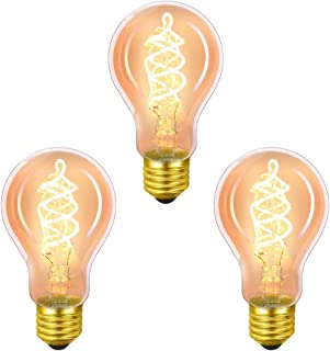 Bombilla Edison vintage, de masway, vintage, LED, E27, A60, 4 W, blanco cálido, filamento, ideal para nostalgia y iluminación retro en casa, cafetería, bar, 3 unidades