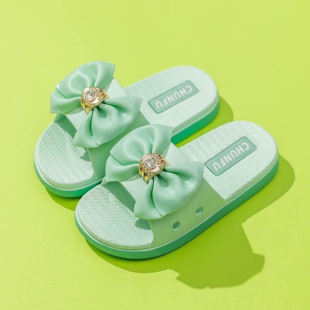 Kids Outer Wear Fashion Girls' Slippers, Girls Cute Cartoon Slide Sandals, Bath Non-Slip House Water Shoes Summer Toddler Beach Flip-Flops (Color : Green, Size : EU30(17.5CM))