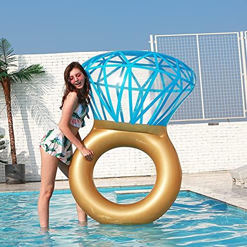 Flotador Inflable con Anillo de Diamantes para Piscina, Flotador para Nadar, Despedida de Soltera, Decoraciones de Stagette, Salón de Agua al Aire Libre para Adultos y Niños 55i * 47in