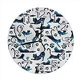 Mailine Reloj de Pared Patrón de Gato Estrellado Reloj de Pared Decorativo Silencioso Sin tictac - Redondo Fácil de Leer Reloj Decorativo