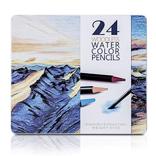Bailive Watercolor Colored Pencils 24 Woodless Water-Soluble Colored Pencils for Kids,Adults & Professionals Premium Art Drawing Pencils for Coloring,Drawing,Blending,Layering & Watercolor Techniques