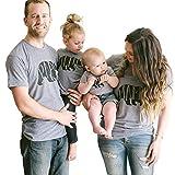 Minetom Hombres Mujeres Casual Letra Oso Impreso Tops Mam Pap Hijo Hija Manga Corta T-Shirt Blusa Ropa Familia Camiseta Papa EU Large