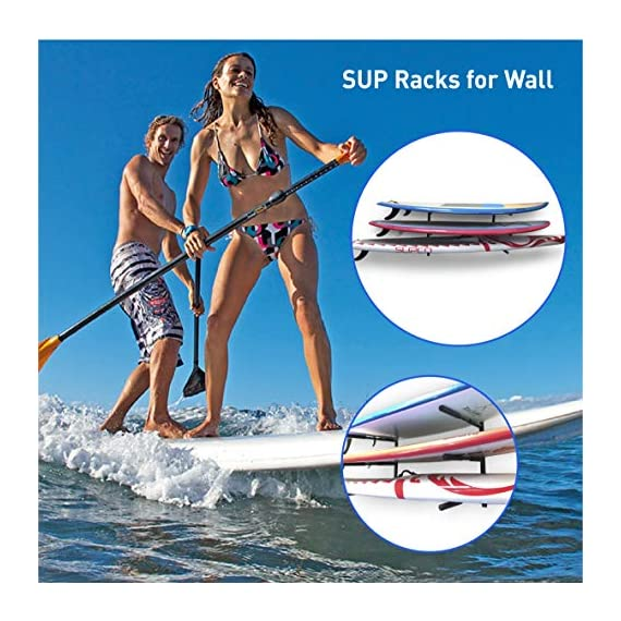 """Easygoproducts egp-surf-006 sup and surf 3 level wall storage for garage or room-paddle board and longboard racks 4 🏄 heavy duty: our sup wall rack was designed using all steel to withstand the weight of heavy paddleboards and long boards creating a more sturdy and durable paddle board storage rack. 🏄 overall protection: each of the 6 arms included of our sup board rack comes equipped with extra thick padding to protect and prevent harm done to your board unlike most paddle board racks. Our steel material is also durable and rust resistant to withstand a salt water environment. 🏄 perfect for many types of boards: unlike a lot of sup racks for wall storage, this paddle board holder can hold up to a 33'' wide board and can hold surfboards, paddleboard, longboards, skis, and some kayaks with a 12"""" spacing in between each arm level."""