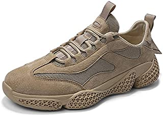 HaiNing Zheng Athletic Shoes for Men Mesh Upper Running Walking Fashion Sneakers Comfortable Soft Breathable Anti-Slip Flat Lace Up Round Toe (Color : Sand, Size : 7 UK)