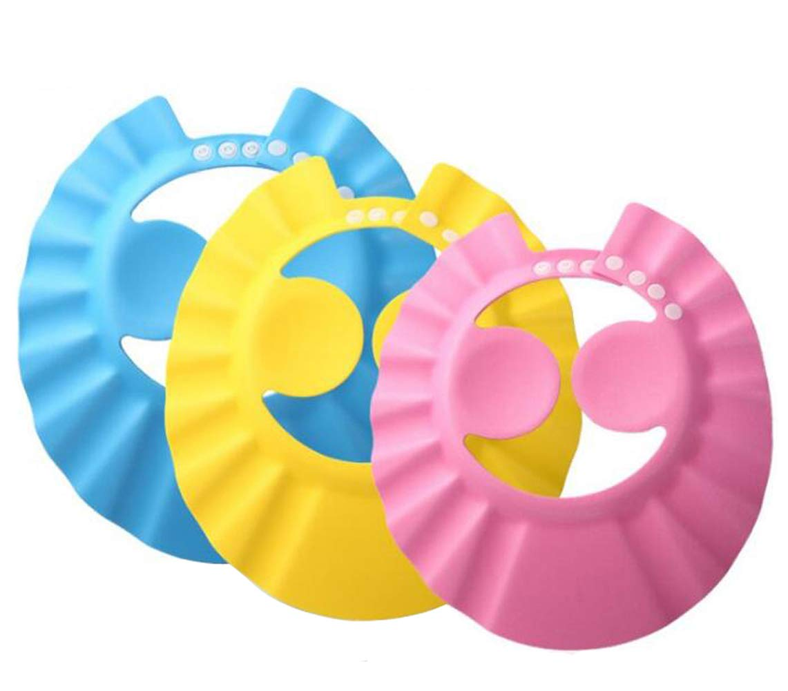 3PCS Baby Bath Shower Shampoo Cap Adjustable Bathing Protection Cap Soft Waterproof Ear Protection Ear Eye Protection Hat Wash Hair Shield Visor Cap for Baby Kids Children (Style A)