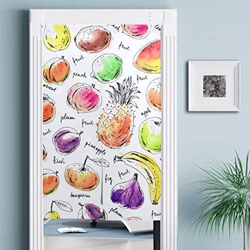 JISMUCI Vorhänge für Türen,Hand gezeichnete Tinte Skizze Aquarell Fleck,Türvorhang Für die Küche Wohnzimmer Schlafzimmer