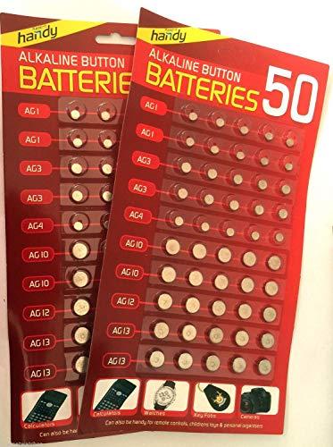 Lote de 100 pilas alcalinas de botón surtidas 377, AG1, AG3, AG4, AG10, AG12, AG13