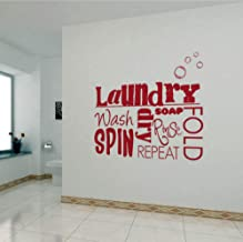 Smydp DIY Vinyl Wall Stickers Laundry Room Mural Wall Decals Removable Wallpaper Home Decor House Decoration Wall Art Poster 45X55Cm
