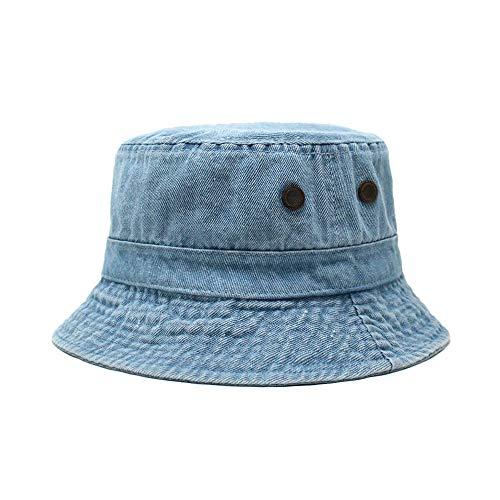 CHOK.LIDS Cotton Bucket Hats Unisex Wide Brim Outdoor Summer Cap Hiking Beach Sports (Light Denim)