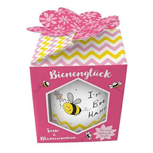 Sheepworld Geschenkewelt 46555 XL Porzellan Spruch Bee Happy, mit Wildblumen-Samen, in farbiger Geschenk-Box Tasse