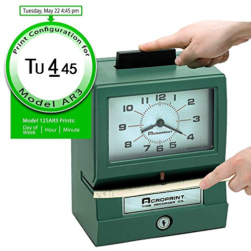 Acroprint 125AR3 Heavy Duty Manual Time Recorder for Day of The Week, Hour (1-12) and Minutes Time Clock