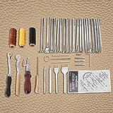 Kit de costura de cuero, hogar para principiantes, 48 piezas, perforadora de cuero para manualidades, para perforar, tallar, coser, coser, suministros de cuero, herramientas de costura a