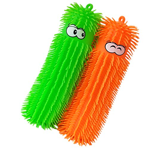 TOYANDONA 2pcs Puffer Worms Flashing Puffer Balls Soft Hairy Air-Filled LED Light Up Sensory Toy Party Favors for Kids (Random Color)