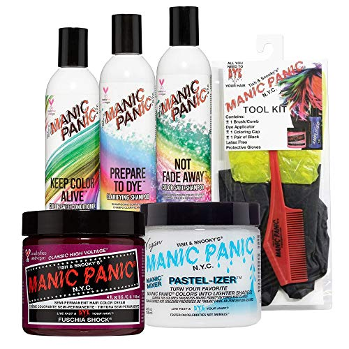 Manic Panic Fuschia Shock Hair Dye Bundle With Pastel-izer Pastel Hair Color Mixer, Prepare to Dye Clarifying Shampoo, Not Fade Away Shampoo and Keep Color Alive Conditioner