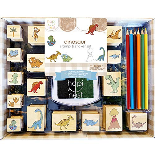 Hapinest Dinosaur Stamp and Sticker Set for Kids Boys Arts and Crafts Kits Ages 4 5 6 7 8 9 Years...
