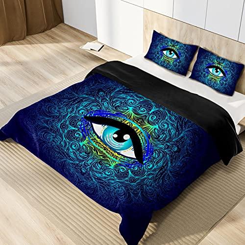 Juego de funda de edredón de doble tamaño con diseño de geometría y símbolo de 3 piezas, juego de cama con fundas de almohada, transpirable, ligero, hipoalergénico