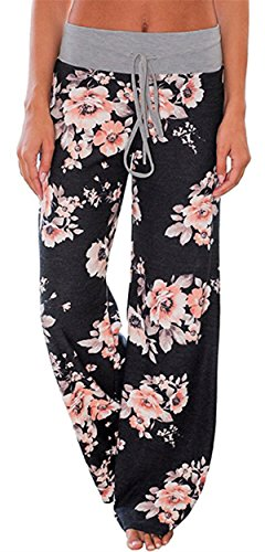 X-Image Women's Summer Yoga Pants High Waisted Wide Leg Casual Floral Print Lounge Pants Trousers Black 2, XXX-Large
