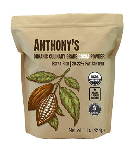 Anthony's Organic Culinary Grade Cocoa Powder, 1 lb, Dutch Processed Baking Cocoa, Gluten Free, Non GMO, Keto Friendly