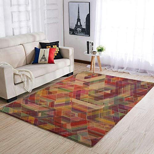 colorful Lingge tie dye Area Rug Patterned Ultra Soft Rectangle Home Carpet Large Size for Indoor Traditional Fade Resistant Carpet white 91x152cm