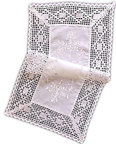 wunderschöne Tischdecke 40x90 cm mit Stil Baumwolloptik Häkelspitze weiß Bauerndecke Landhaus (Tischläufer 40x90 cm)