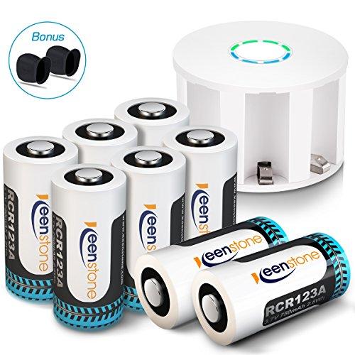 Arlo Kamera Akkus 8 Stücke, Keenstone Wiederaufladbare 3.7V 700mAh Li-ion Arlo Batterien, mit 2 Silikon Hüllen und Batterie Gehäuse für Arlo Überwachungskamera VMC3030/3230/3330/3430
