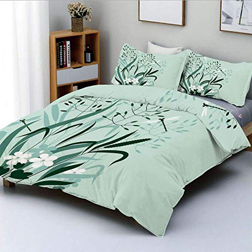 Jojun Duvet Cover Set,Wild Grass and Dragonflies in Exquisitely Growing Lawn Herb Bush Rural PatternDecorative 3 Piece Bedding Set with 2 Pillow Sham,Light Green,Best Gift For Kids & Easy Ca