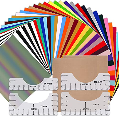 Heat Transfer Vinyl, 60 Pack 12' x 10' Sheets Iron on Vinyl,26 Assorted Colors HTV Vinyl for Cricut,HTV Heat Transfer Vinyl Bundle for DIY Iron on Fabrics T-Shirts with Tshirt Ruler Guide