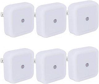 Plug-in Night Light, Daylight White LED Nightlight, Dusk-to-Dawn Sensor, Bedroom, Bathroom, Kitchen, Hallway, Stairs, Energy Efficient, 6-Pack