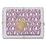 dabelino - Papel de regalo ecológico para niños (4 unidades), diseño de pingüino/copos de nieve (lila, blanco)