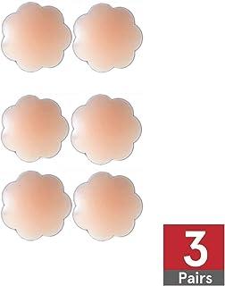 Premium Silicone Reusable Breast Lift Nipple Cover Thin Pasties Original Hypoallergenic Nipplecovers Adhesive Reusable Nippleless Covers (Patel Shape 3 Pairs)