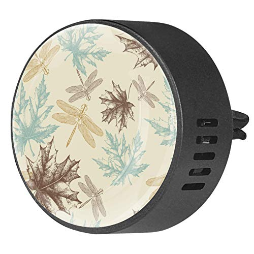 2 Pack Car Aromatherapy Essential Diffuser Maple Leaves And A Dragonfly Pattern Of Autumn Car Air Freshener Vent Clip
