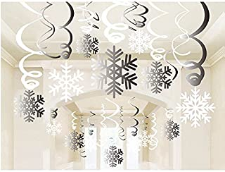 Snowflake Swirls Decoration(30pcs), Merry Christmas Snowflake Hanging Swirls Garland Foil Ceiling ornaments for Xmas Winter Wonderland Holiday Party Decor Supplies,Already Assembled