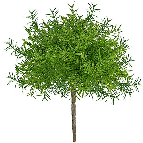 4 Pack Artificial Green Rosemary Bushes Faux Rosemary Plants Rosemary Greenery Shrubs Spray for Table Centerpiece Wedding Bouquets Indoor Outdoor Greenery Décor 7.9