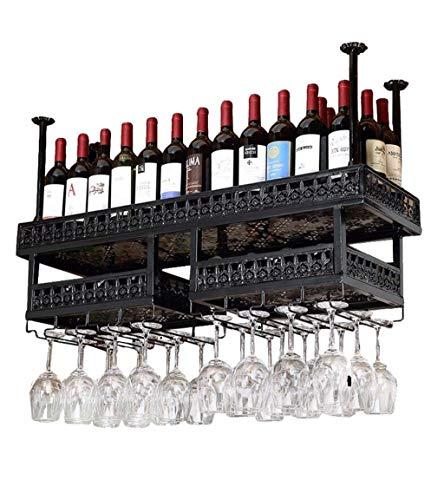 MQJ Estante de Vino, Montado en la Pared, Bar, Restaurante, Tetera de Botella de Vino, Muro de Doble Capa S Metal Plancha Estante de Alenamiento en Bar Bar Hogar Colgando Vino, Bronce,120 × 31 cm,Neg