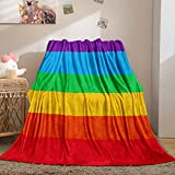 Bedbay Gay Pride Rainbow Flag LGBT Queen Size Blanket for Bed Colorful Stripes Rainbow Blanket Equality Love Theme Soft Lightweight Big Blanket for Boys Girls (Rainbow Stripe, Queen(90'x90'))