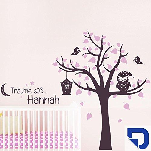 DESIGNSCAPE® Wandtattoo Träume süß mit Name Eule und Baum   Wandtattoo Kinderzimmer 250 x 200 cm (Breite x Höhe) Farbe 1: enzian DW809093-L-F29