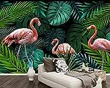 Papel Pintado,Mural,Personalizar 3D Wallpaper Selva Tropical Flamingo Serie Animal Decoración De Pared Art Hd Imprimir Imagen De Póster Grandes Murales De Seda Para La Habitación De Los Niños De K