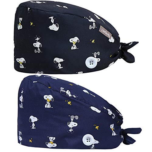 2PCS Cute Printed Working Cap with Button, Adjustable Tie Back Hats Head Covers for Women Men, One Size (Snoopy)