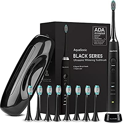 AquaSonic Black Series Ultra Whitening Toothbrush ? ADA Accepted Rechargeable Toothbrush - 8 Brush Heads & Travel Case - Ultra Sonic Motor & Wireless Charging - 4 Modes w Smart Timer - Sonic Electric