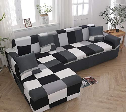 INFANDW Schonbezug Sofahusse, Stretch-Stoff, Couch-Bezug, Sofa-Möbelschutz, kompletter Bezug maschinenwaschbar(schwarz, 2 Sitzer: 145-185cm)