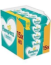Pampers Sensitive Feuchttücher 15 Packungen Mit Feuchttüchern = 1200 Feuchttücher, Mit Dem Einzigartigen Pampers PH-Ausgleich, Dermatologisch Getestet