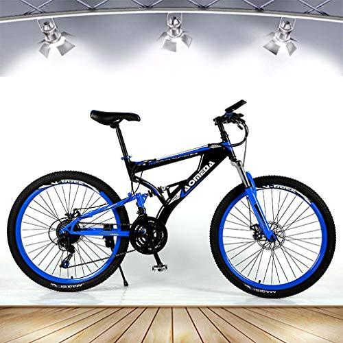 Adulto Bicicleta de montaña, 21 bicis de la Velocidad de Doble Disco de Freno, de aleación de Aluminio de Bicicletas Playa Nieve, 26 Pulgadas Ruedas, Propósito General Mujer Hombre,Azul