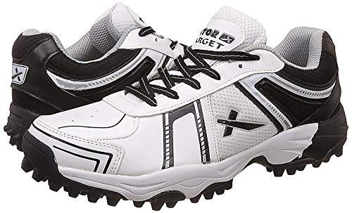 KD Vector Cricket-Schuhe mit Gummi-Spikes, Ziel, Hockey, Sport, Stollen für drinnen und draußen, (weiß / schwarz), 37 EU